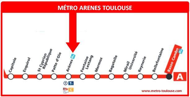 Plan métro Arènes Toulouse