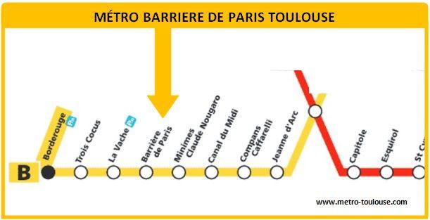 Plan métro Barrière de Paris Toulouse