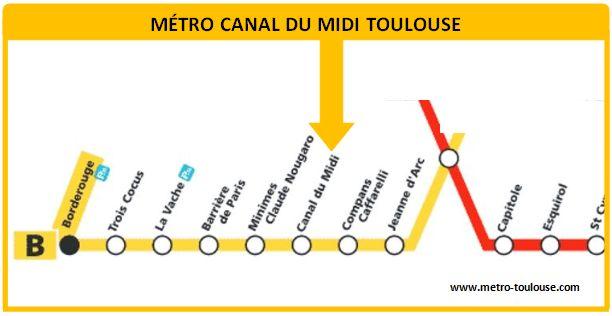 Plan métro Canal du Midi Toulouse