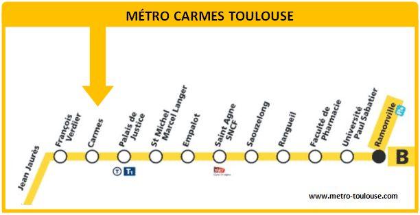 Plan métro Carmes Toulouse
