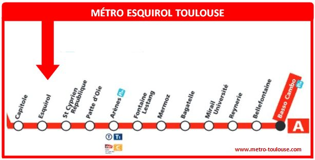 Plan métro Esquirol Toulouse