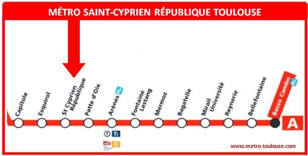 Plan métro Saint-Cyprien République Toulouse