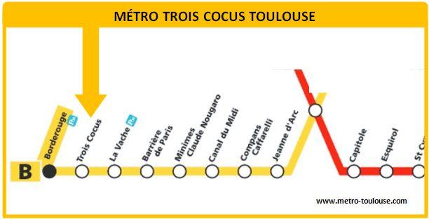 Plan métro Trois Cocus Toulouse